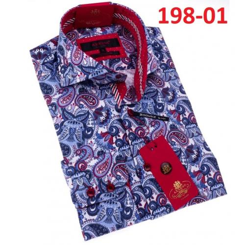 Axxess Blue / White/ Red Cotton Paisely Design Modern Fit Dress Shirt With Button Cuff 198-01.