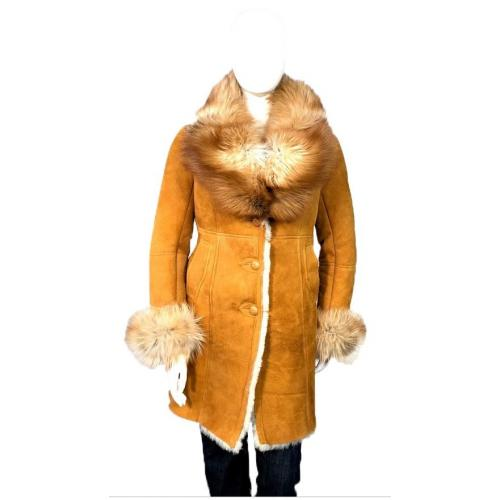 G-Gator Ladies Genuine Sheepskin Single-Breasted Trench Coat With Fox Fur Collar 0105.