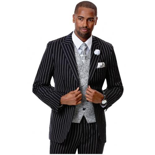 E. J. Samuel Black Classic Fit Vested Suit M2732.