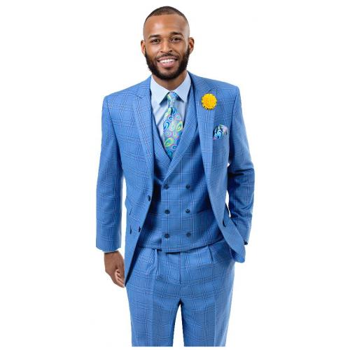 E. J. Samuel Light Blue Plaid Classic Fit Vested Suit M2727.