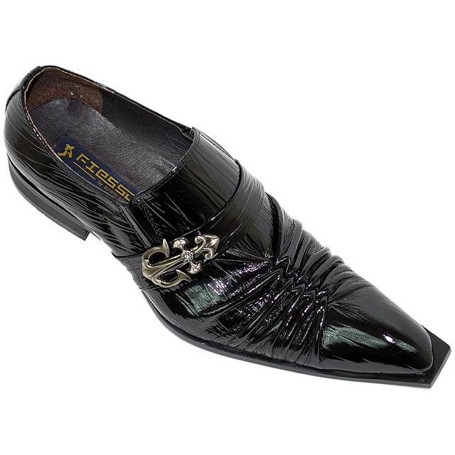 91813d06fcfba Fiesso Black Braided Wrinkle Patent Leather Pointed Toe Shoes FI8090