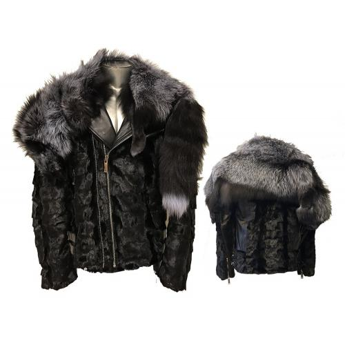 Winter Fur Black / Silver Genuine Diamond Mink Motorcycle Jacket with Removable Fox Collar M49S01BKS.
