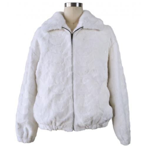Winter Fur White Genuine Mink Section Bomber Jacket With Collar M69R01WT.