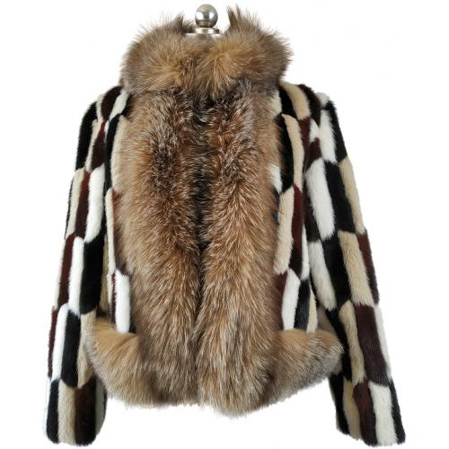 Winter Fur Ladies Crystal / Multicolor Genuine Mink / Fox Trimming Jacket W39S01CY.