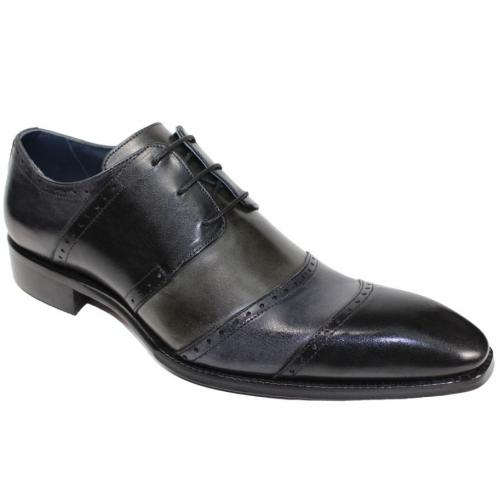 "Duca Di Matiste ""Asti"" Black Combination Genuine Calfskin Lase Up Medallion Toe Dress Shoes."