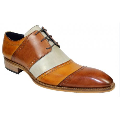 "Duca Di Matiste ""Asti"" Brandy Combination Genuine Calfskin Lace Up Medallion Toe Dress Shoes."
