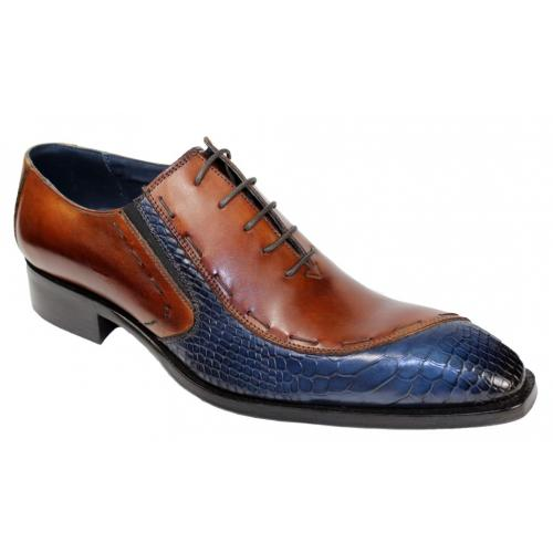 "Duca Di Matiste ""Ferrara"" Navy / Brandy Genuine Calfskin / Anaconda Print Lace up Oxford Shoes."