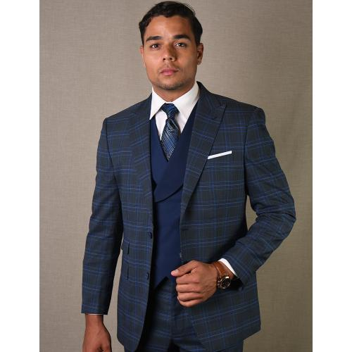 "Statement ""Tivoli"" Charcoal / Light Navy Super 180's Cashmere Wool Vested Modern Fit Suit"