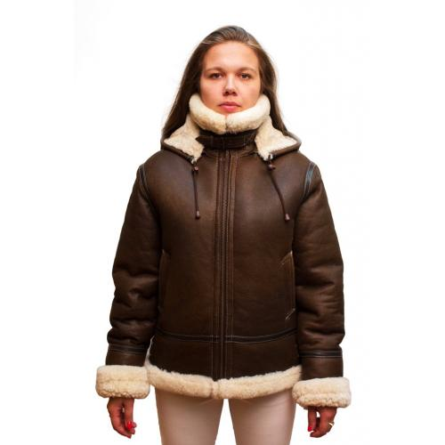 G-Gator Ladies Brown Genuine Shearling Sheepskin Aviator Jacket w/ Reversible Collar / Cuffs 1050.