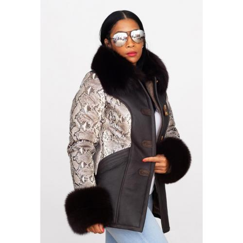 G-Gator Ladies Genuine Sheepskin / Fox Fur / Python Toggle Coat 1077.