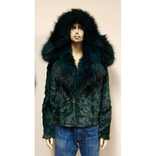 Winter Fur Green Genuine Diamond Mink Motorcycle Jacket With Fox Collar And Hood M49S02GN.