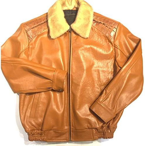 G-Gator Cognac Genuine Alligator / Mink Bomber Jacket 2057.