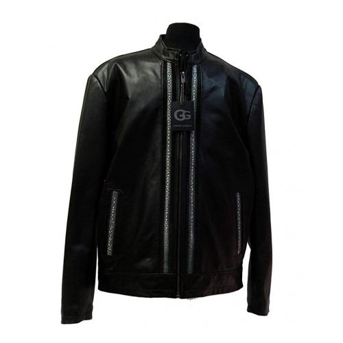 G-Gator Black Genuine Lambskin / Stingray Racing Jacket 2104.