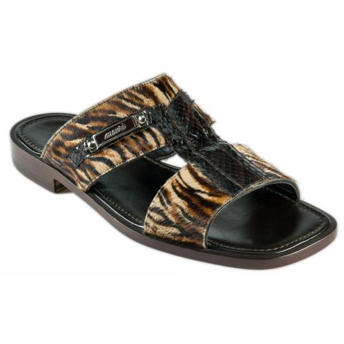 "Mauri "" Testa "" 1450/3 Brown / Beige Genuine Whips / Pony Maculated Sandals."