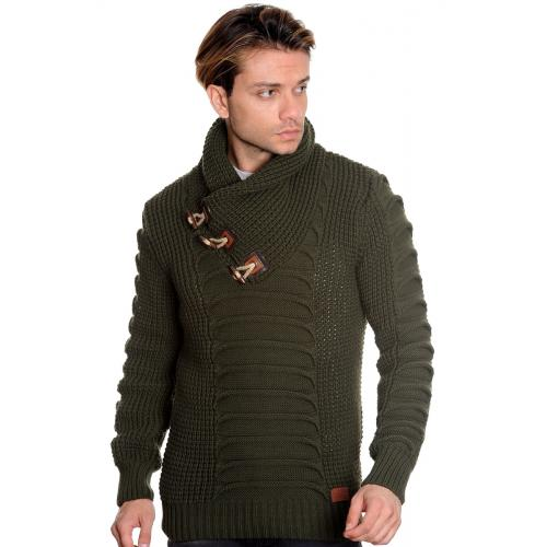 LCR Olive Green Shawl Collar Pull-Over Modern Fit Wool Blend Sweater 5577