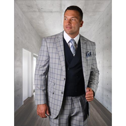 "Statement ""Rexford"" Natural /Blue / White Super 150's Wool Vested Modern Fit Suit"