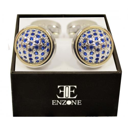 Enzone Silver Plated / Royal Blue Rhinestone Round Cufflink Set 872