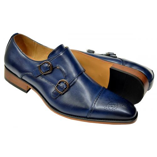 UV Signature Navy Blue Hand Burnished Vegan Leather Double Monk Strap Shoes G6859-389
