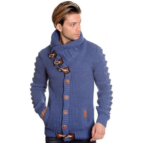 LCR Blue Button-Up Modern Fit Wool Blend Shawl Collar Cardigan Sweater 5587