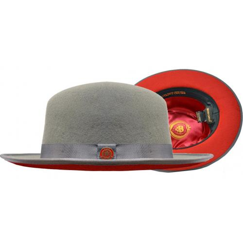 Bruno Capelo Grey / Red Bottom Australian Wool Fedora Dress Hat PR-304