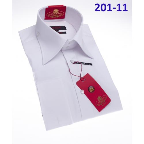 Axxess White Cotton Modern Fit Dress Shirt With Button Cuff 201-11.