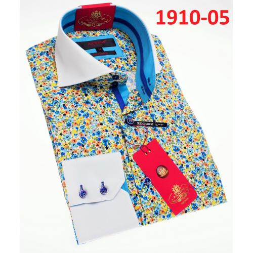 Axxess White Multi Color Cotton Modern Fit Dress Shirt With Button Cuff 1910-05.