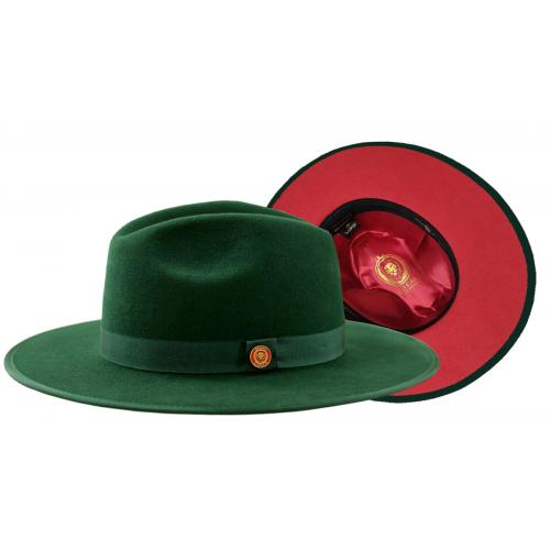 Bruno Capelo Dark Green / Red Bottom Australian Wool Flat Brim Fedora Hat MO-201