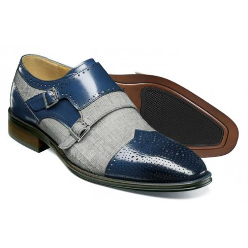 "Stacy Adams ""Harper"" Navy / Grey Double Monk Strap Leather / Canvas Shoes 25355-460"