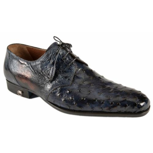 Mauri 1188/1 Wonder Blue Genuine Ostrich Hand-Painted Shoes.