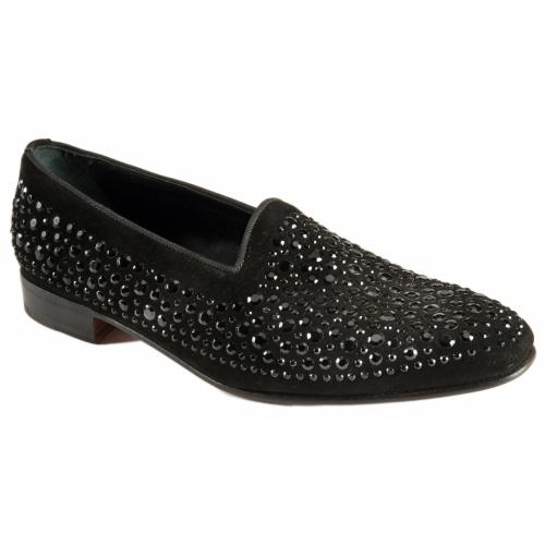 Mauri 3031 Black Genuine Suede / Gross Grain Loafer Shoes.