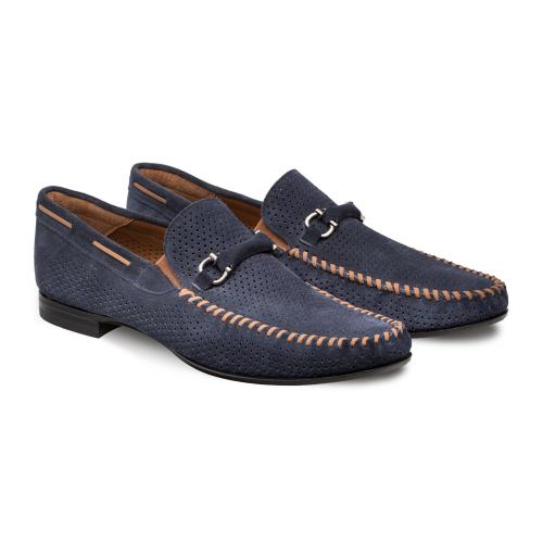 "Mezlan ""Marcello'' Blue Genuine Hand-Burnished Suede Moccasin Shoes 7272."