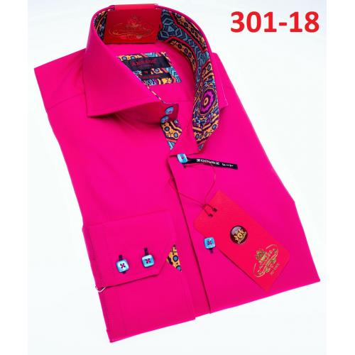 Axxess Fuchsia Modern Fit Cotton Dress Shirt With Button Cuff 301-18.