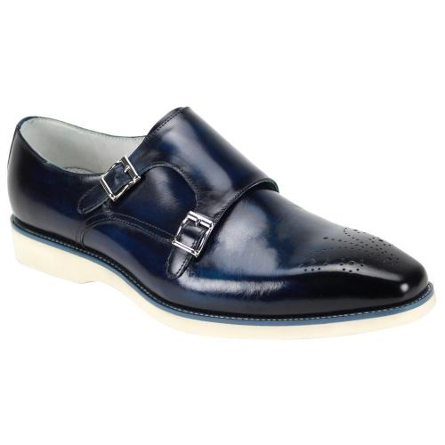 "Giovanni ""Jaxson"" Navy Burnished Calfskin Contrast Sole Double Monk Strap Shoes."