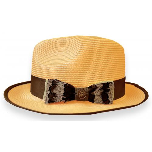 Steven Land Natural Cream / Brown Feather Bow Banded Fedora Straw Hat SLCN-524.