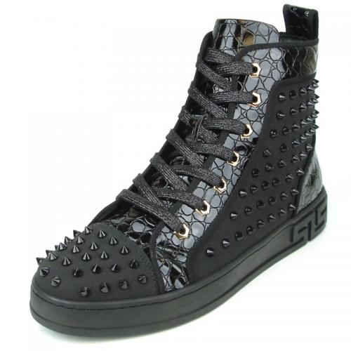 Fiesso Black Genuine Leather High Top Sneaker Shoes FI2364.