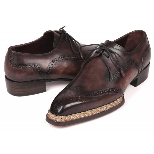 "Paul Parkman ""8506-BRZ"" Bronze Genuine Calfskin Wingtip Derby Shoes"