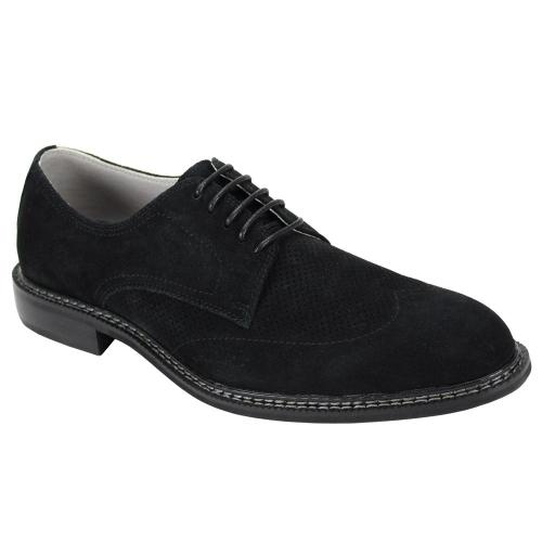 "Giovanni ""Kennedy"" Black Perforated Calfskin Suede Wingtip Derby Dress Casual Shoes."