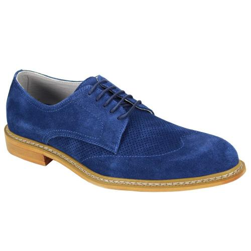 "Giovanni ""Kennedy"" Blue Perforated Calfskin Suede Wingtip Derby Dress Casual Shoes."