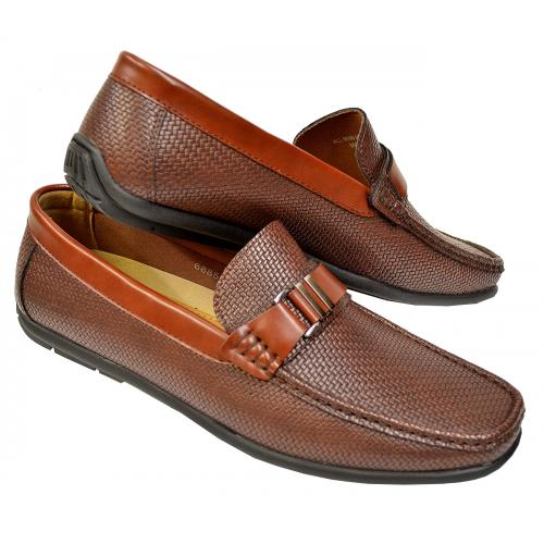 AC Casuals Brown Woven Vegan Leather Bit Strap Driving Loafers 6885