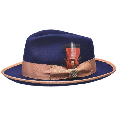 Bruno Capelo Navy Blue / Cognac Australian Wool Fedora Dress Hat LO-201.