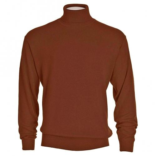 Bagazio Rust Brown Tricot Long Sleeve Turtleneck Sweater Shirt BM031