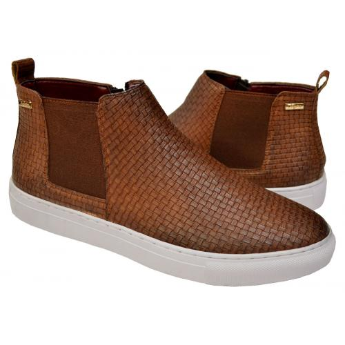 "Tayno ""Calt"" Chestnut Brown Woven Vegan Leather Chelsea Sneaker Boots"