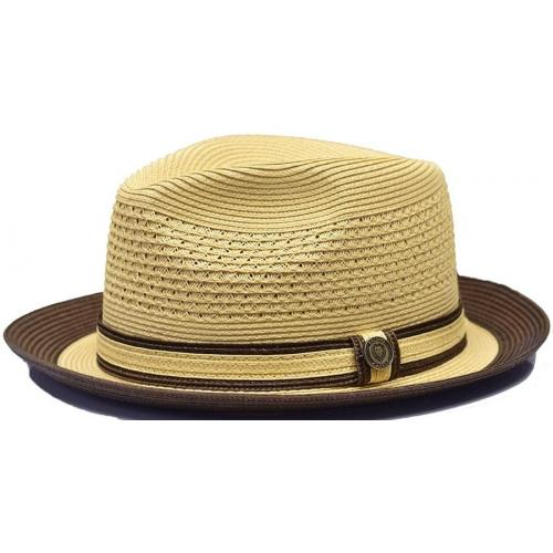 "Bruno Capelo ""Dayton"" Natural / Dark Brown Braided Straw Fedora Hat."