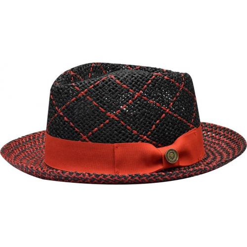 "Bruno Capelo ""Enrico"" Black/Red Braided Straw Fedora Hat."