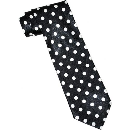 Vittorio Farina VF009 Black With White Polka Dots Satin Necktie / Hanky Set