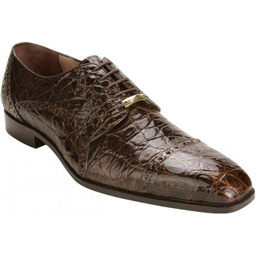 "Belvedere ""Lupo"" Brown All-Over Genuine Crocodile Flanks Shoes"