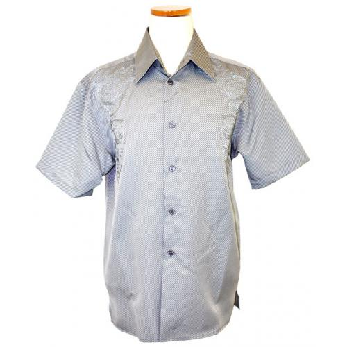Pronti Grey/White Diagonal Pinstripes And Embroidered Design 100% Micro Polyester Shirt S1531