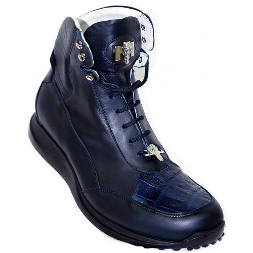 Mauri 8911 Navy Blue Genuine Alligator Casual Boots