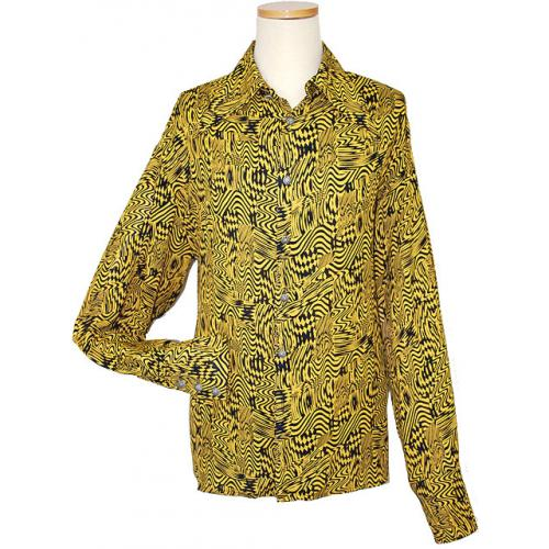 Live Collection Black/Gold  Psychedelic Design Butter Fly Collar Long Sleeves Shirt