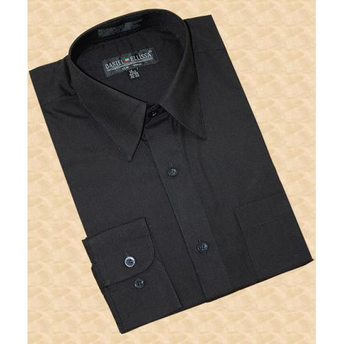 Daniel Ellissa Solid Black Cotton Blend Dress Shirt With Convertible Cuffs DS3001